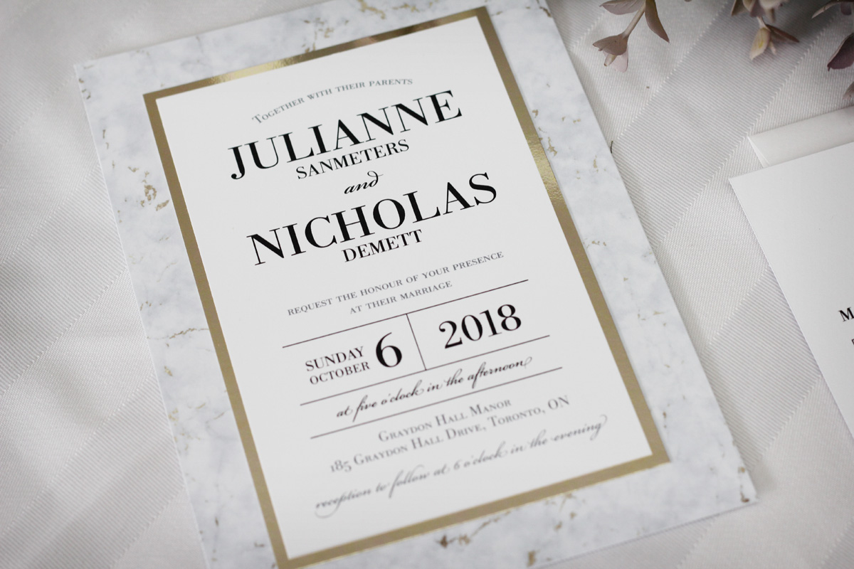Canadian Wedding Invitations: Marble Wedding Invitations With Gold Accents