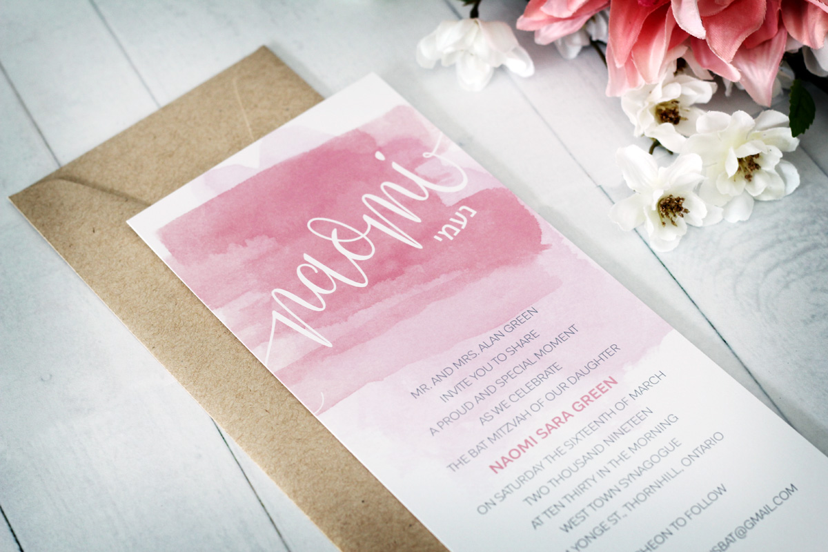 Modern Watercolour Bat Mitzvah Invitations - Impressions – Custom ...