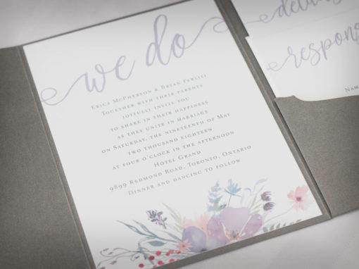 Soft Floral Pocket Fold Wedding Invitations