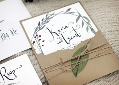 Fall Wedding Invitation with Specialty Cut Pocket and Watercolour Foliage