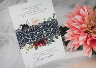 Watercolour Flowers Wedding Invitations with Laser-cut Belly Band