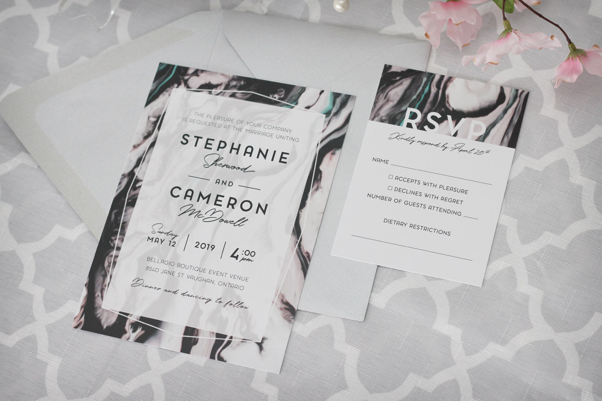 Modern marble wedding invitations impressions custom invitations additional add ons and upgrades available contact us for a more detailed quote negle Images