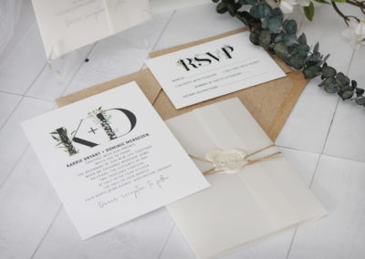 Rustic Foliage Wedding Invitation with Vellum Wrap & Wax Seal
