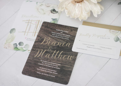 Wood and Watercolour Floral Wedding Invitation