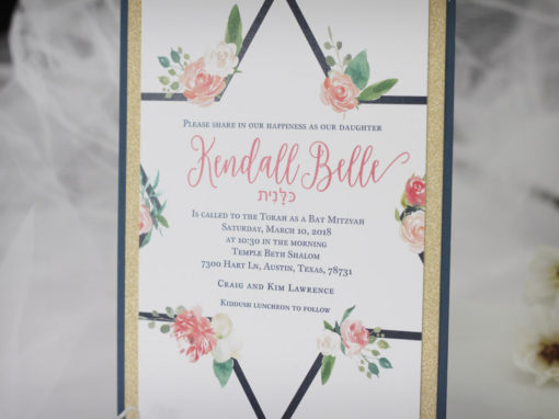 Watercolour Bat Mitzvah Invitation