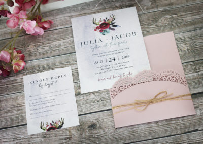 Laser Cut Boho Feathers Pocket Wedding Invitation