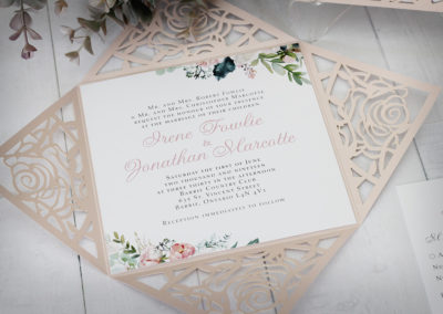 Laser Cut Flower Wedding Invitations
