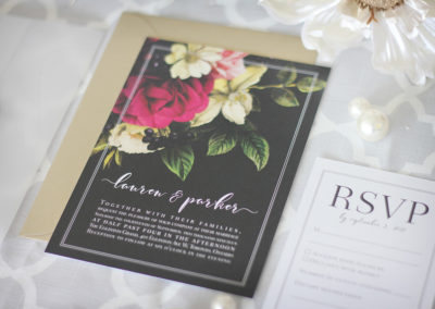 Moody Flowers Wedding Invitation with Vellum Wrap & Wax Seal