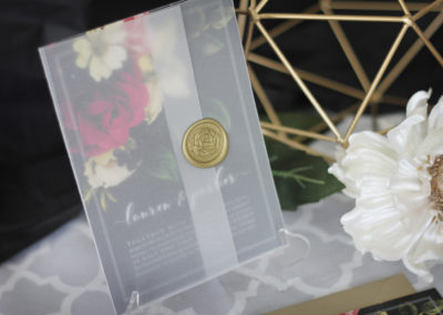 Moody Flowers Wedding Invitation with vellum wrap and wax seal