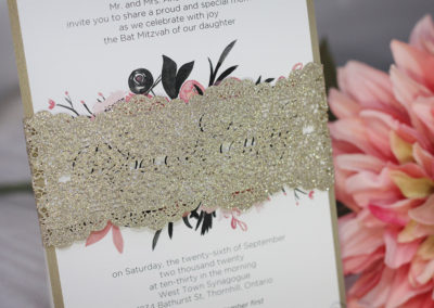 Glitter Belly Band Bat Mitzvah Invitations