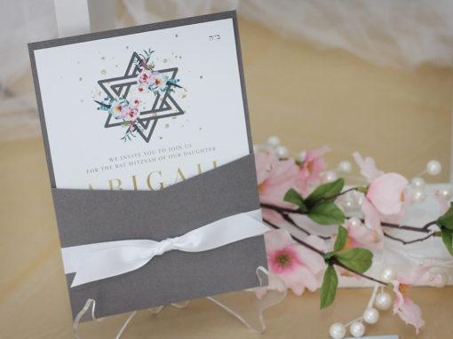 Boho Pocket Bat Mitzvah Invitations with Watercolour Details