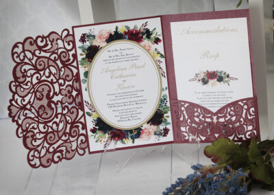 Autumn laser cut pocket fold watercolour flower wedding invitations