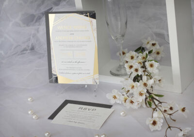 Geometric gold foil and marble wedding invitations