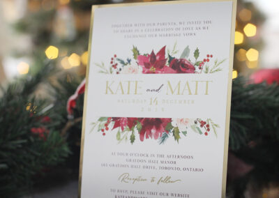 Christmas poinsettia gold foil wedding invitations