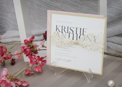 Contemporary Gold Glitter Wedding Invitations