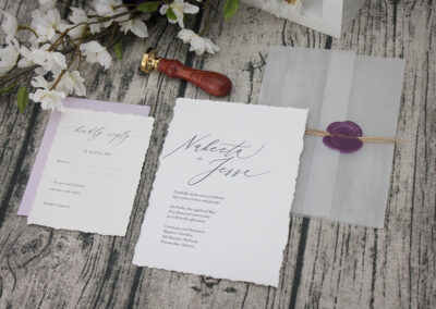 Deckle Edge Vellum Wrap Wedding Invitations with Wax Seal