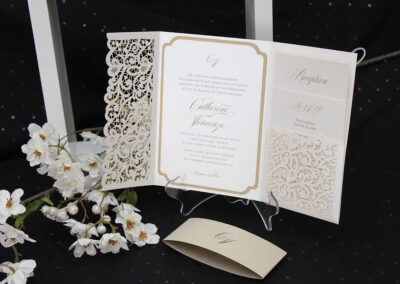 Laser Cut Lace Pocket Fold Wedding Invitations