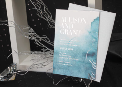 Dramatic Watercolour Wedding Invitation with Foil