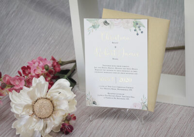 Floral Wedding Invitation with Gold Foil