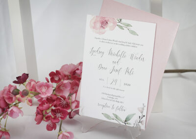 Pink Watercolour Floral Wedding Invitation