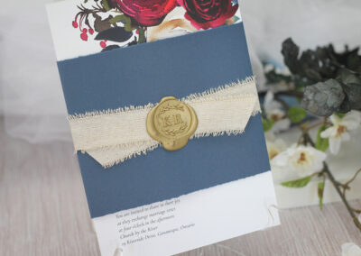 Rustic Boho Wedding Invitation with Wax Seal and Burlap Ribbon