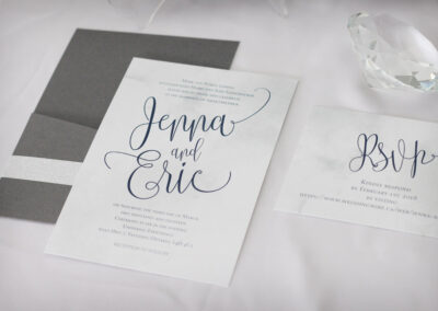 Modern Pocket Wedding Invitation with Silver Glitter Strip